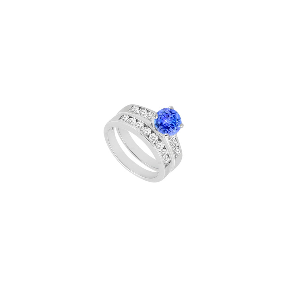 Created Tanzanite Cubic Zirconia Engagement Ring with Wedding Band Sets 14K White Gold 1.50 CT by Love Bright