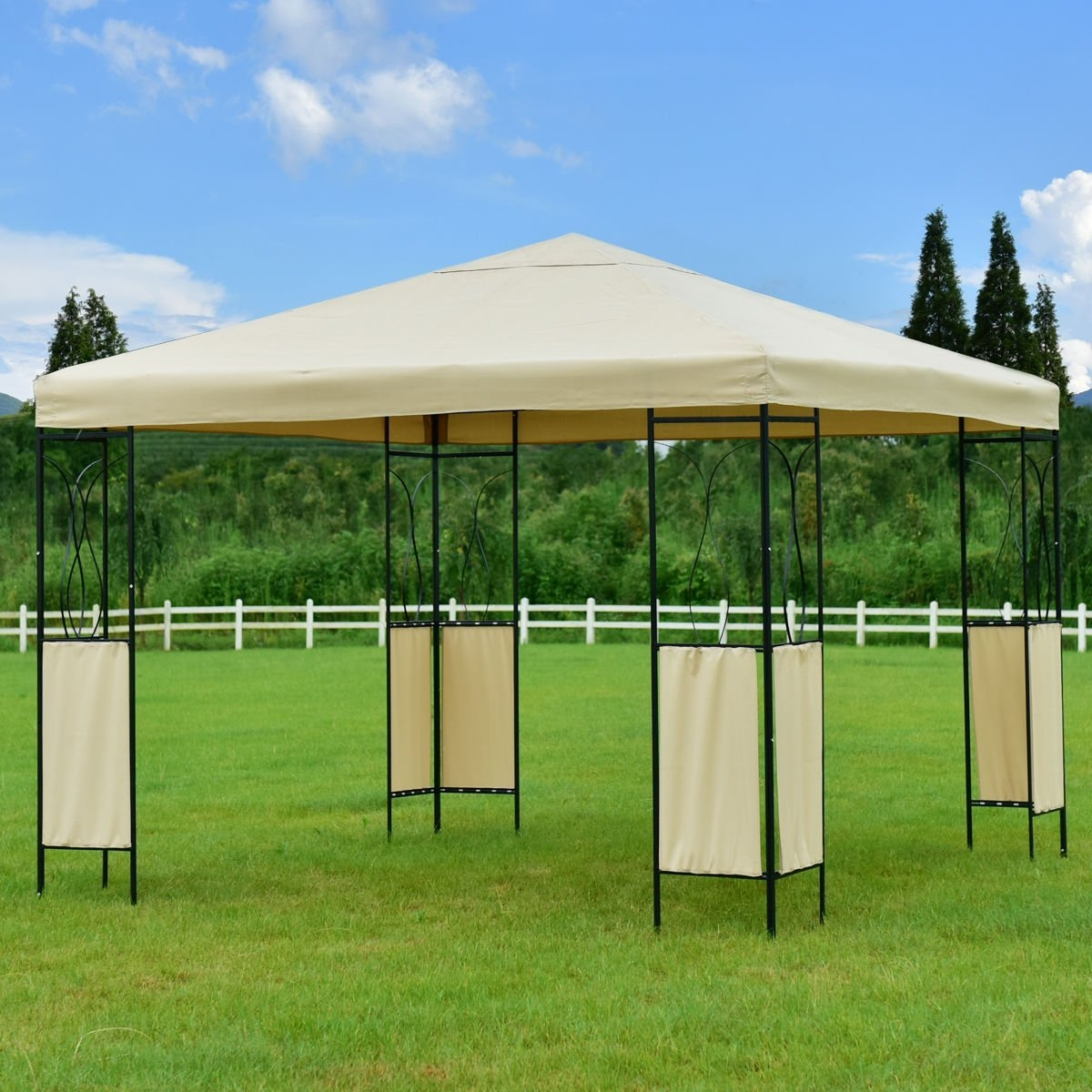 New MTN-G MTN-G 10x10 Gazebo Canopy Shelter Patio Wedding Party Tent Outdoor Awning Beige by MTN Gearsmith