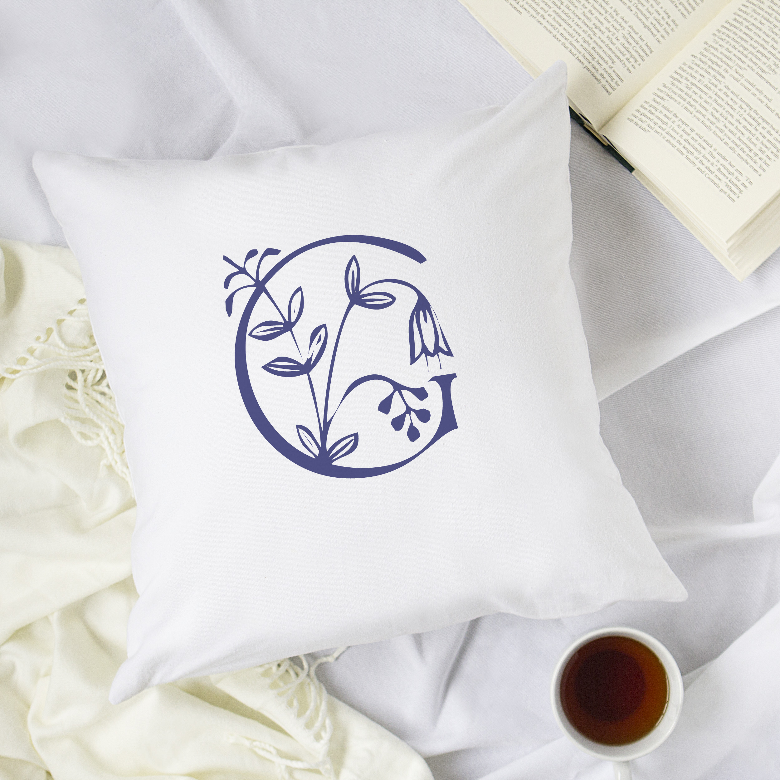"""Personalized Floral Initial 16"""" Throw Pillow"""