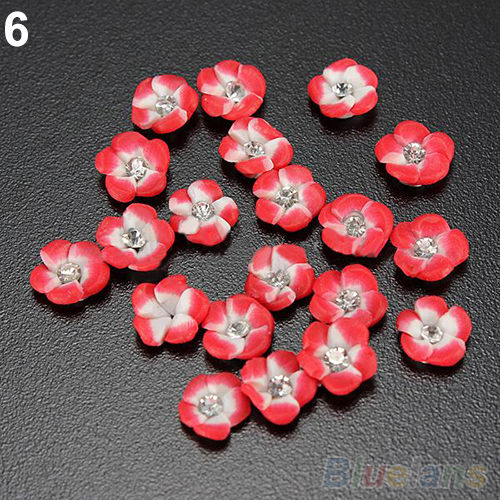 20Pcs 6 Color Ceramic Flower Rhinestones Nail Art Tips Design DIY Decorations 3D