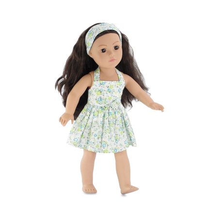 18 Inch Doll Clothes | Blue and Green Flowered Halter Dress, Including Matching Headband | Fits 18