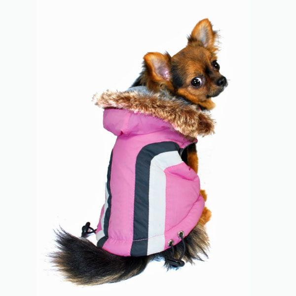 Swiss Alpine Ski Dog Vest by Hip Doggie - Pink - X-Small