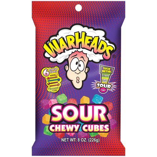 IMPACT CONFECTIONS Warheads Sour Chewy Cubes Candy, 8 oz