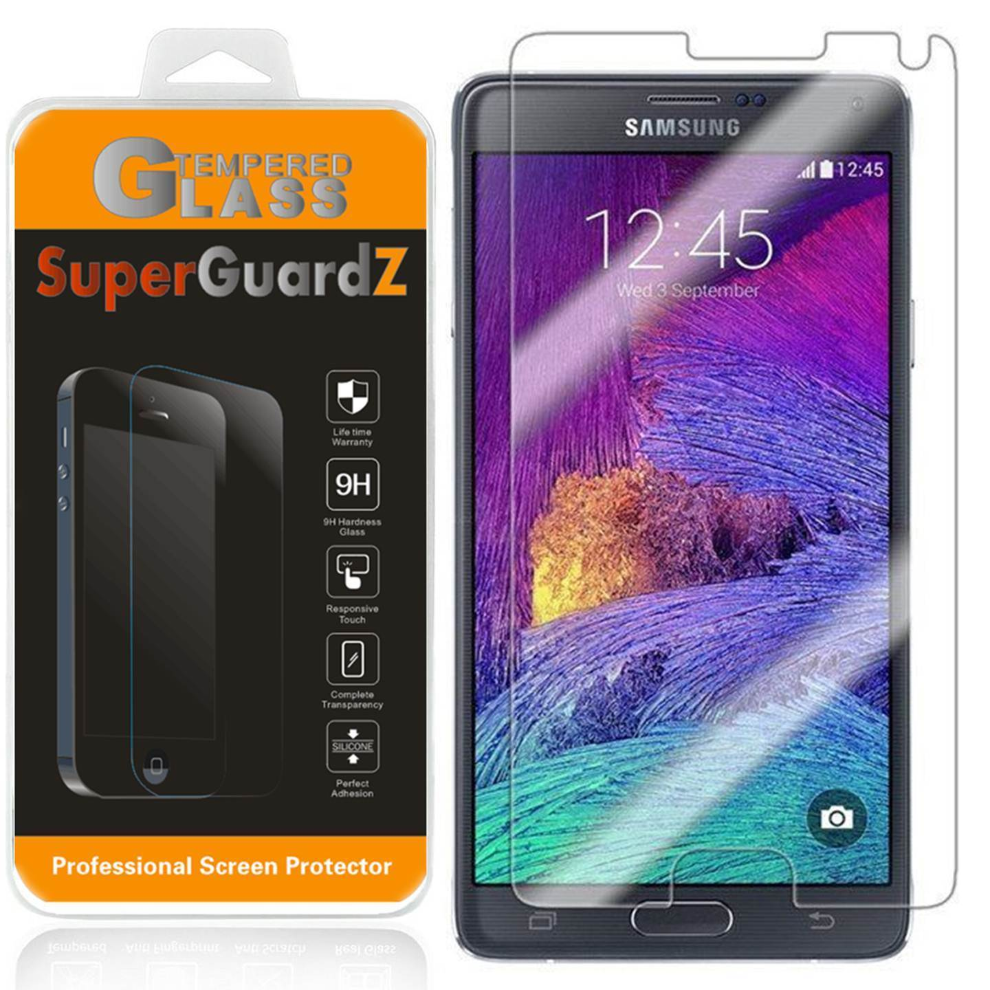 [2-Pack] For Samsung Galaxy Note 4 - SuperGuardZ Tempered Glass Screen Protector, 9H, Anti-Scratch, Anti-Bubble, Anti-Fingerprint