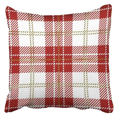 ARHOME Abstract Red and White Scottish Woven Tartan Plaid Checkered Clan Culture Detailed Pillow Case Cushion Cover 20x20 inch