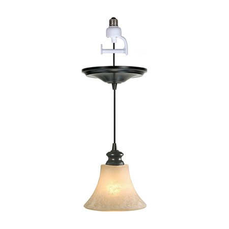 Worth Home Products Instant Pendant Recessed Light Conversion Kit Scavo Glass Shade with Vintage (Cream Scavo Glass Shades)