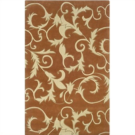 """Linon Rugs Trio With A Twist Rectangular Area Rug in Pumpkin and Ivory-1'10"""" x 2'10"""" - image 1 de 1"""
