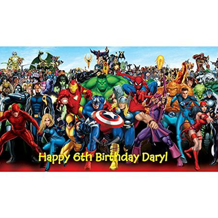 marvel superheroes edible Image birthday cake topper (Birthday Cake Black Forest)