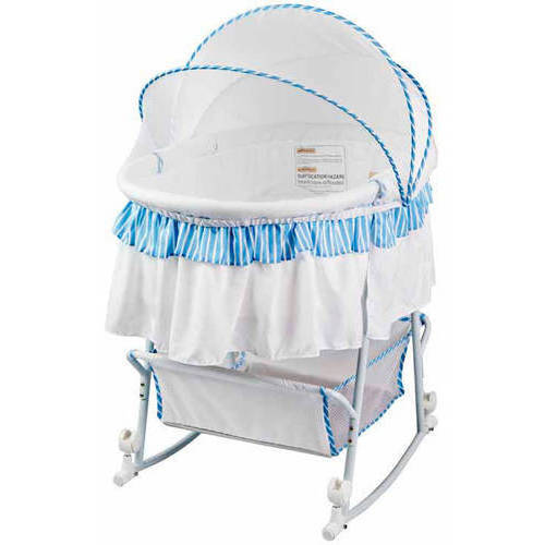 Dream On Me, Lacy, Portable 2-in-1 Bassinet And Cradle in Blue And White by Dream On Me
