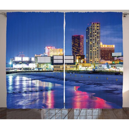 City Curtains 2 Panels Set, Resort Casinos on Shore at Night Atlantic City New Jersey United States, Window Drapes for Living Room Bedroom, 108W X 90L Inches, Violet Blue Pink Yellow, by Ambesonne
