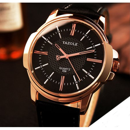 Outtop Men Luxury Stainless Steel Quartz Military Sport Leather Band Dial Wrist Watch