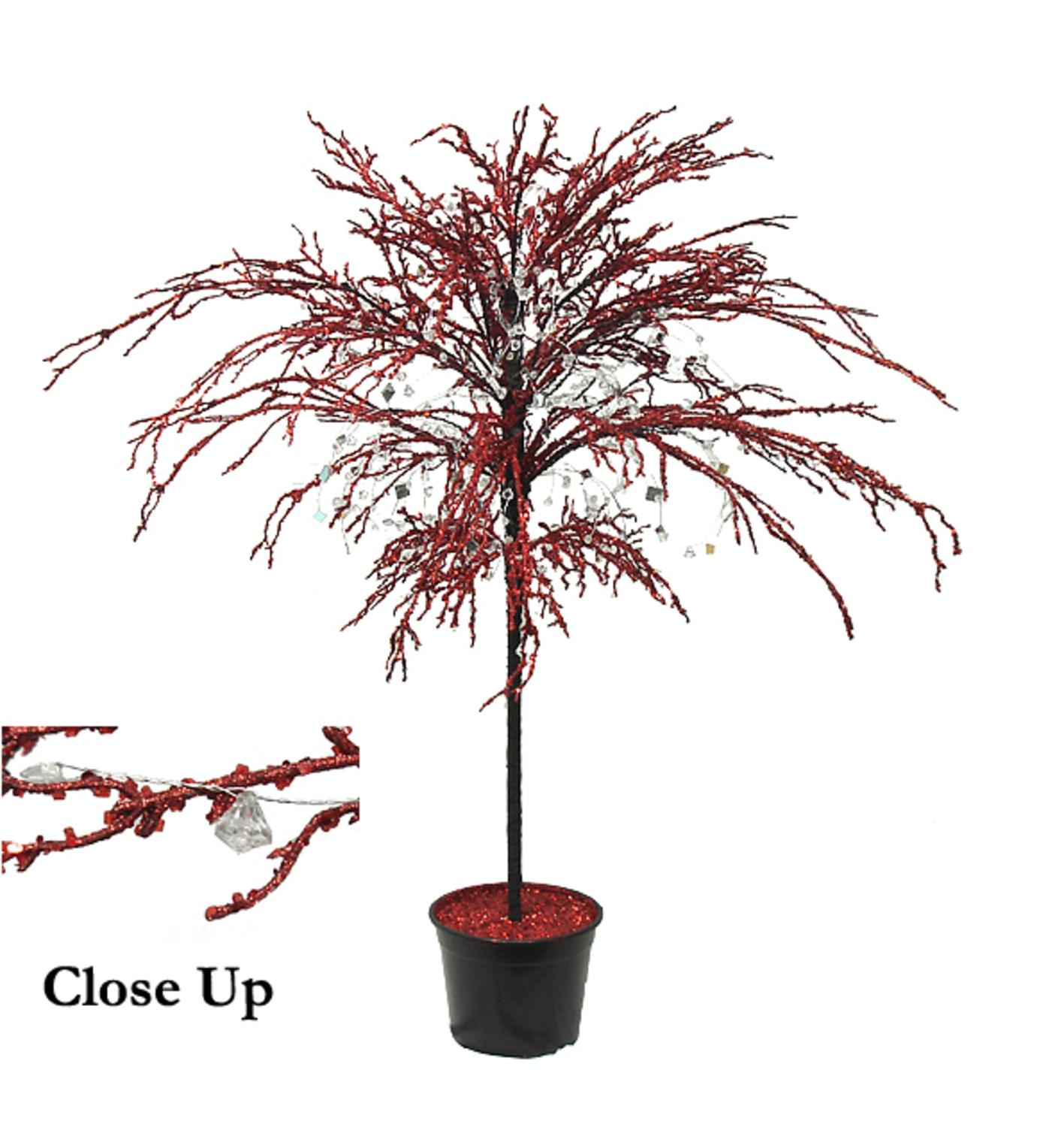 CMI 3.75' Unlit Artificial Christmas Tree Potted Red Crystallized Glitter Mirrors and Beads