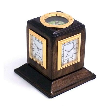 Bey Berk International Three Time Zone Revolving Desk Clock  Walnut Wood   Tarnish Proof
