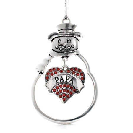 Papa Snowman - Papa Red Pave Heart Snowman Holiday Ornament