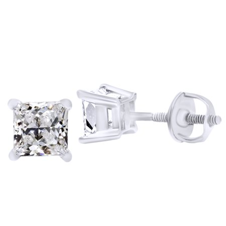 (2cttw) Princess Cut White Natural Diamond Stud Earrings In 14k White Gold - Gold Natural Diamond Earrings