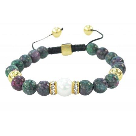 - Fashion Jewelry Round Green Jasper Gemstone macrame style adjustable bracelet - 91204