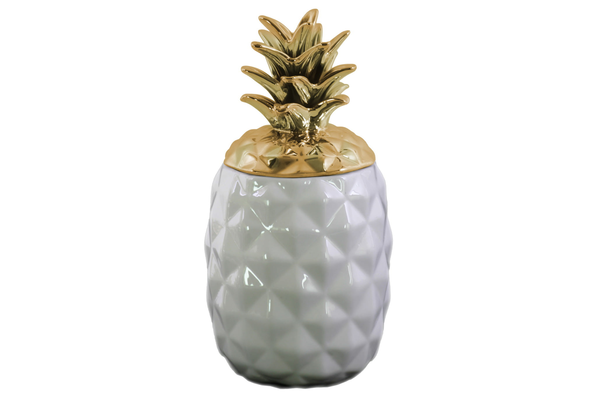 Urban trends collection: ceramic pineapple decor canister coated finish by Urban Trends Collection