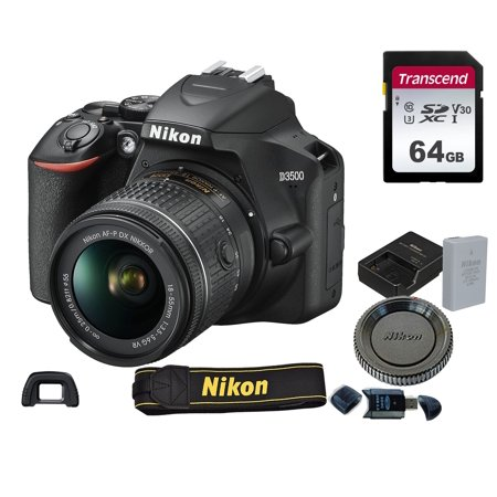 Nikon D3500 DSLR Camera w/ AF-P DX 18-55mm VR Lens  + 64GB Memory (Best Nikon Dx Camera)