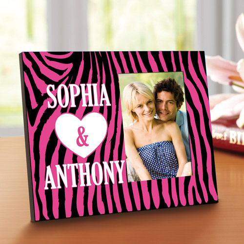 Personalized 4x6 Zebra Print Picture Frame, Pink/Black