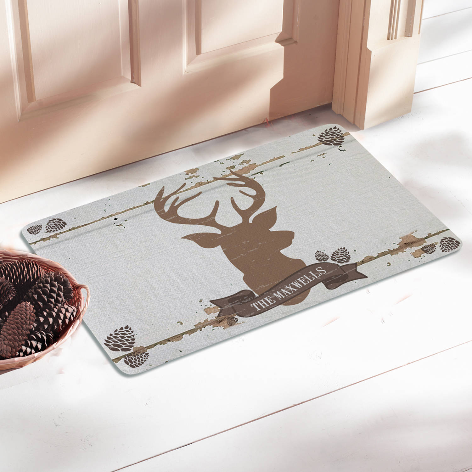Personalized Rustic Deer Family Name Doormat