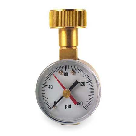 DURO 18C829 Pressure Gauge, Max. Reading, 2 In