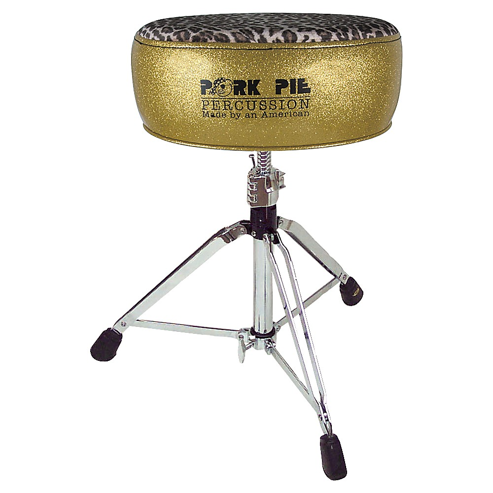 Pork Pie Round Drum Throne Gold with Leopard Top by Pork Pie