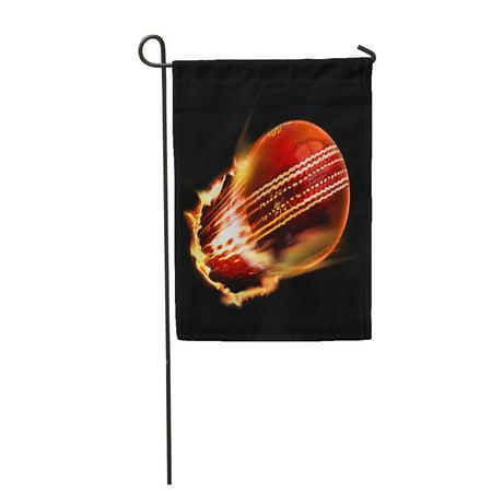 LADDKE Red Fire Cricket Ball Sport Ashes Bat Match Summer Garden Flag Decorative Flag House Banner 12x18 inch