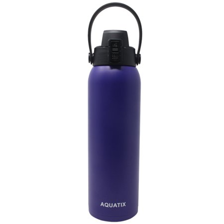 New Aquatix (Purple / Lavender, 32 Ounce) Pure Stainless Steel Double Wall Vacuum Insulated Sports Water Bottle Convenient Flip Top Cap with Removable Strap Handle - Keeps Drinks Cold 24 hr / Hot 6 hr Double Notch Steel Strap