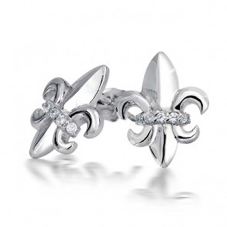 Cz Fleur De Lis Sterling Silver Stud Earrings