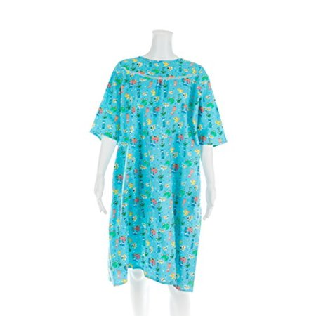 Women's Adaptive Flannel Backwrap Gown - Fun Prints with Blue Background - (Small)