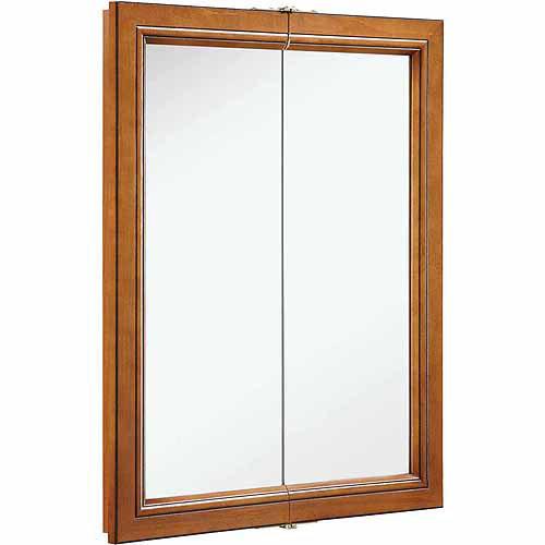 Design House 541383 Montclair Chestnut Glaze Double Door Medicine Cabinet Mirror with Solid Wood Frame