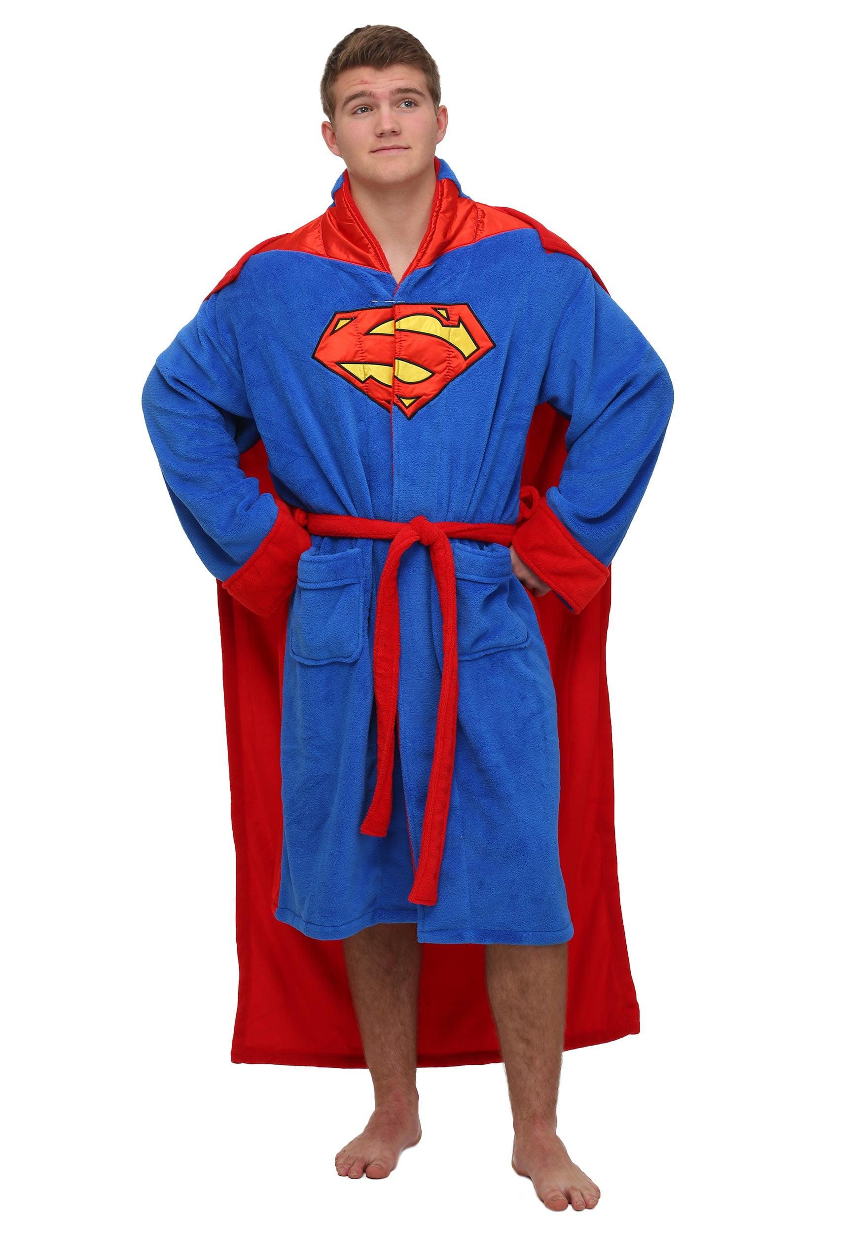 Dc Comics Superman Mens Fleece Bathrobe Swim Suit Cover Up With Cape Walmart Com Walmart Com