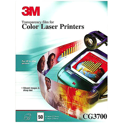 3M Color Laser Printer Transparency Film, Clear, Letter, ...