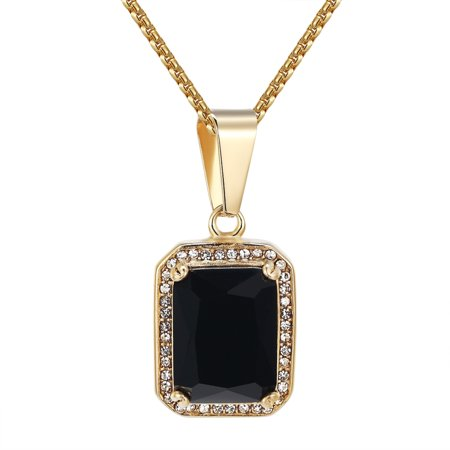 Black Solitaire Ruby Glass Pendant Lab Diamonds Stainless Steel Free Box Chain Charm