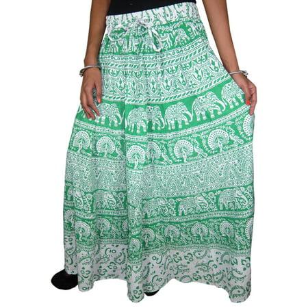 8aff8f62a7 Mogul Interior - Mogul Women's Indian Long Skirt Green White Printed Cotton  Skirts - Walmart.com