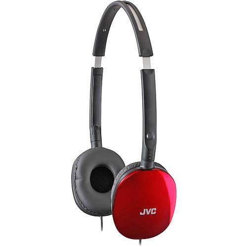 JVC FLATS Lightweight Folding Headphones, Red