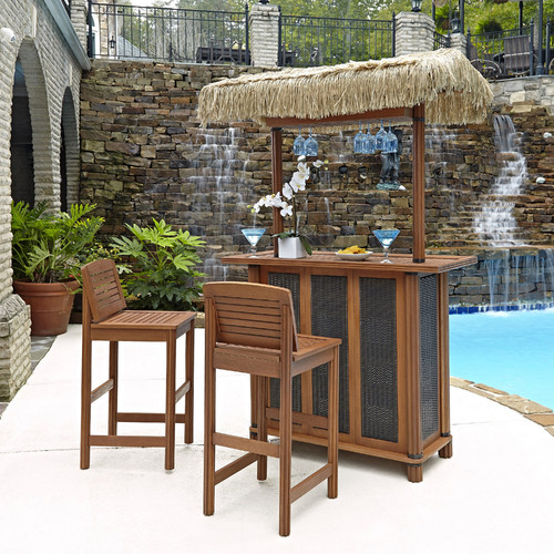 Home Styles Bali Hai Tiki Bar and 2 Stools, Eucalyptus