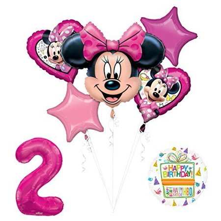 NEW Minnie Mouse 2nd Birthday Party Supplies Balloon Bouquet Decorations (Minnie Mouse Birthday Decorations)