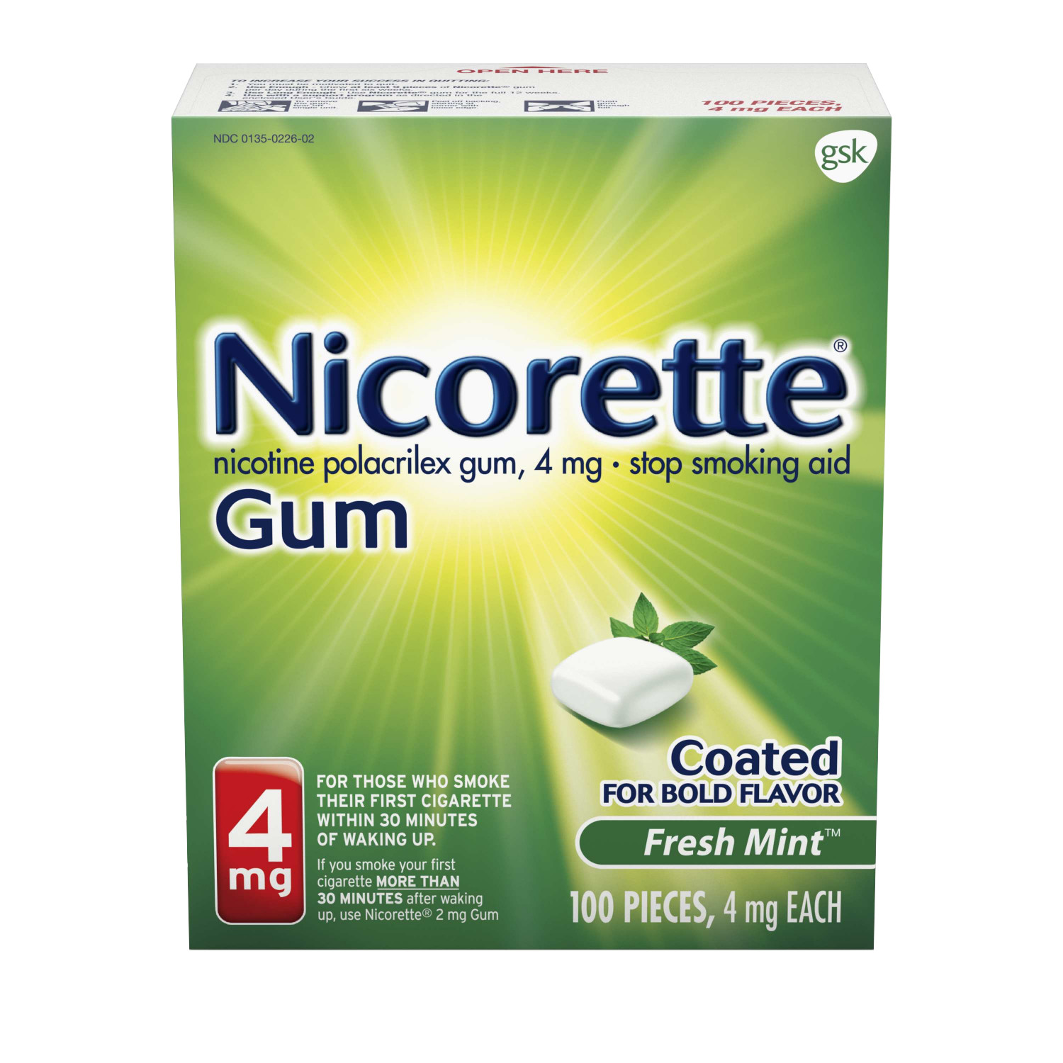 Nicorette Nicotine Gum, Stop Smoking Aid, 4 mg, Fresh Mint Flavor, 100 count