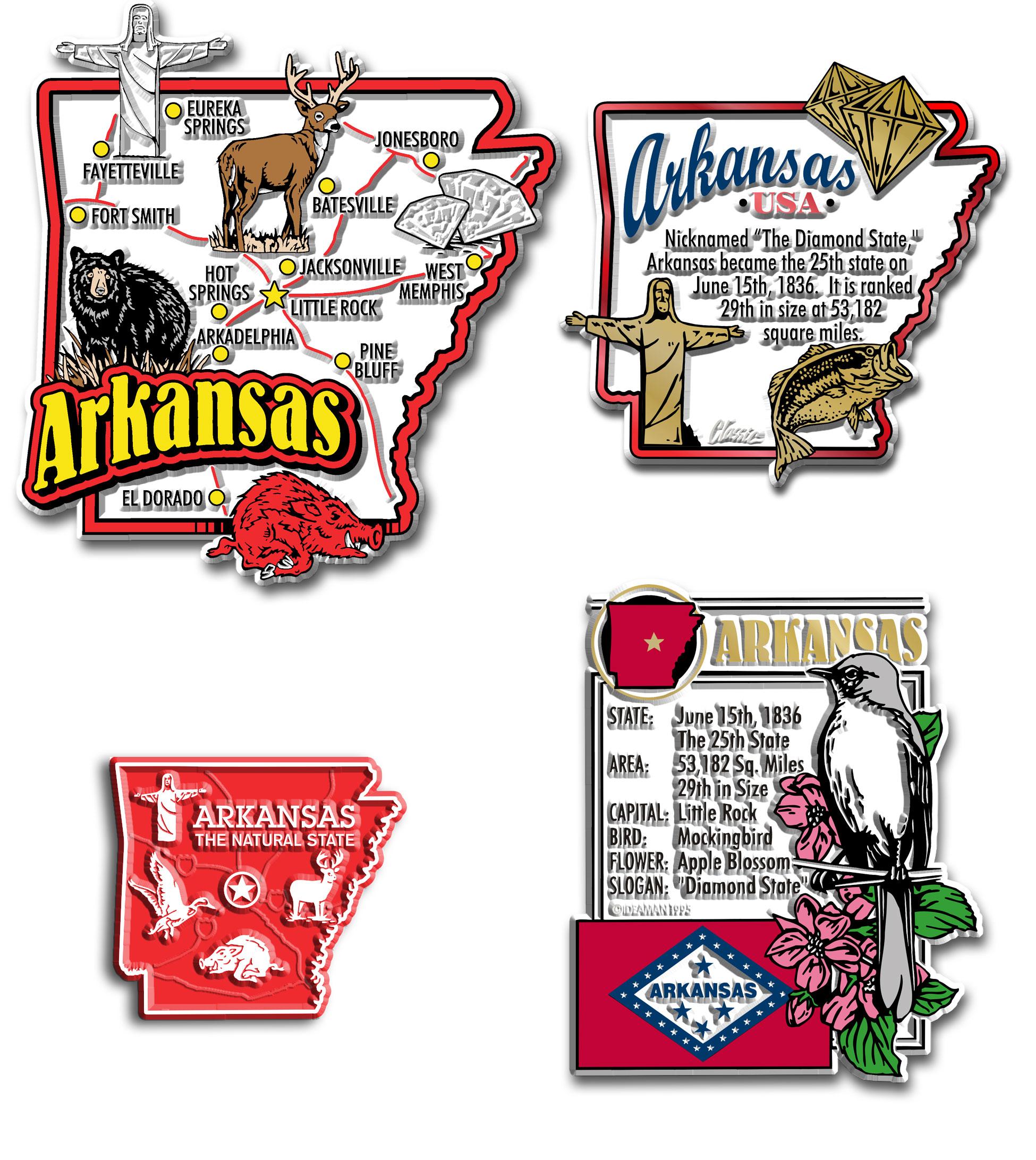 Four-Piece State Magnet Set - Arkansas