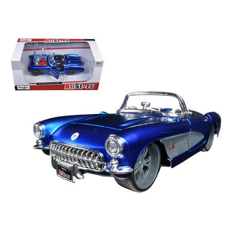 1957 Chevrolet Corvette Blue Custom 1/24 Diecast Model Car by Maisto