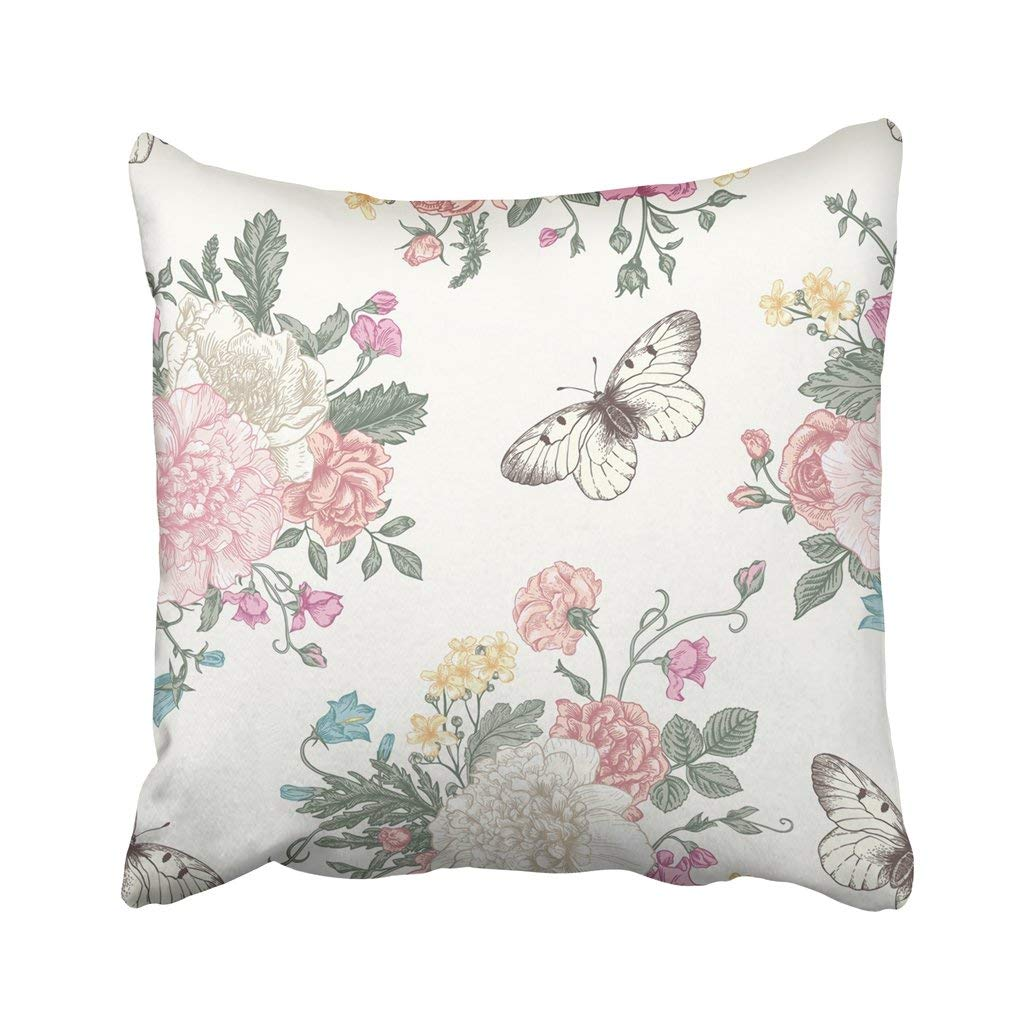 BPBOP Floral Pattern With Bouquet Of Colorful Flowers On White Peonies Roses Sweet Peas Bell Pillowcase Cover 16x16 inch