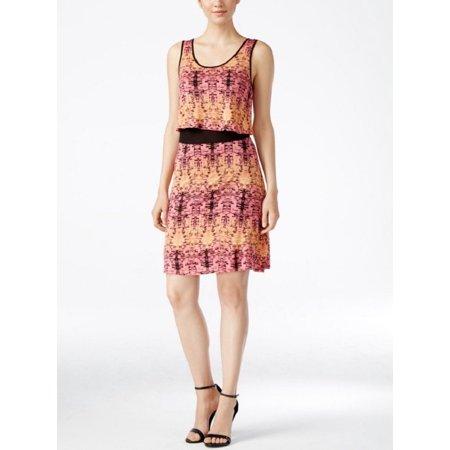 Kensie Junior's Printed Popover Casual Dress, Orange, XL