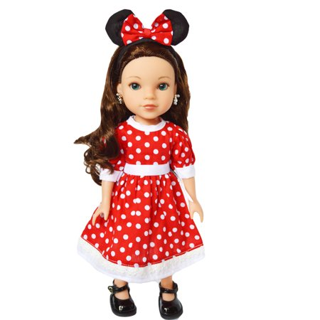 My Brittany's Red Mouse Dress for Wellie Wisher Dolls and Glitter Girl Dolls- 14 Inch Doll