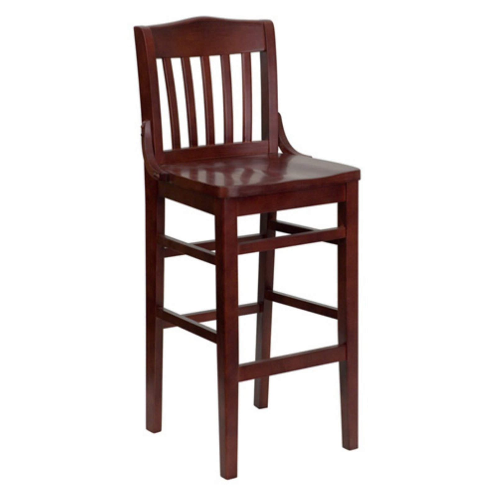 Flash Furniture HERCULES Series Mahogany Finished School House Back Wooden Restaurant Barstool