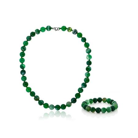 (18 Inch 10mm Green Agate Necklace Bracelet Gift Set)