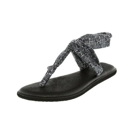 Sanuk Women's Yoga Sling Ella Prints Black / White Tiki Tile Sandal - 10M