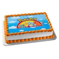 Pokemon Pikachu Bulbasaur Squirtle Charmander Rainbow Clouds Edible Cake Topper Image