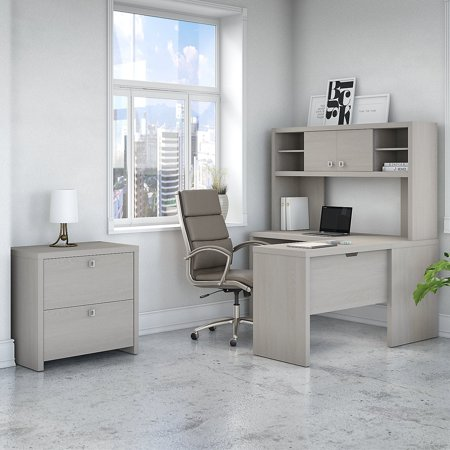 Bush Industries Office by kathy ireland Echo L Shaped Desk, Hutch and Cabinet