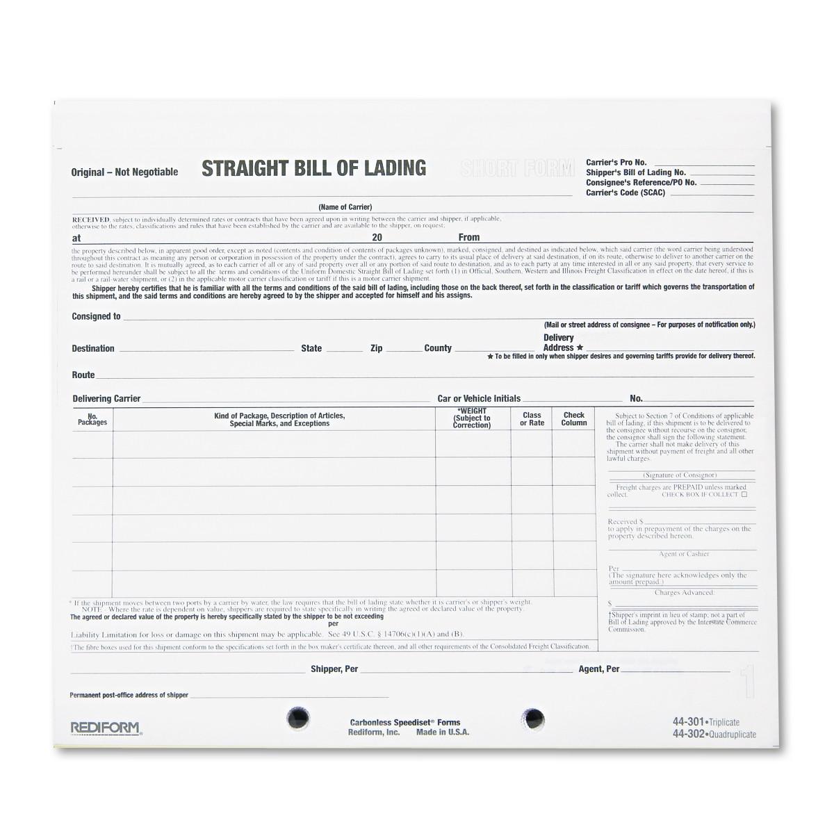 Rediform Bill of Lading Short Form, 7 x 8 1/2, Three-Part ...